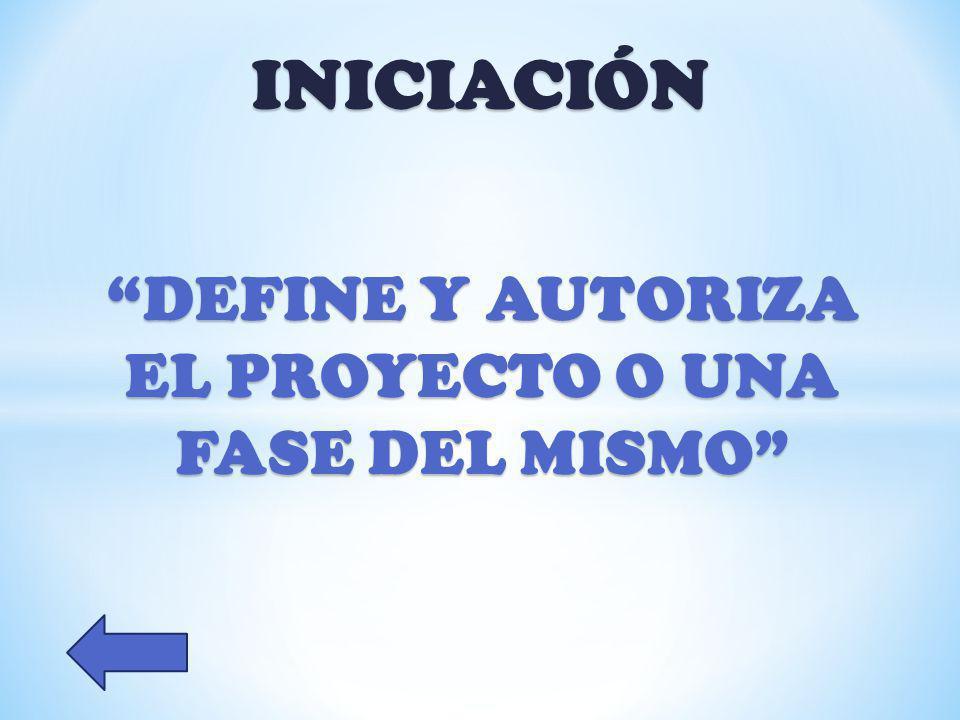 INICIACIÓN DEFINE Y AUTORIZA EL PROYECTO O UNA FASE DEL MISMO