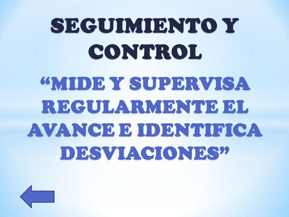 SEGUIMIENTO Y CONTROL MIDE Y SUPERVISA REGULARMENTE EL AVANCE E IDENTIFICA DESVIACIONES
