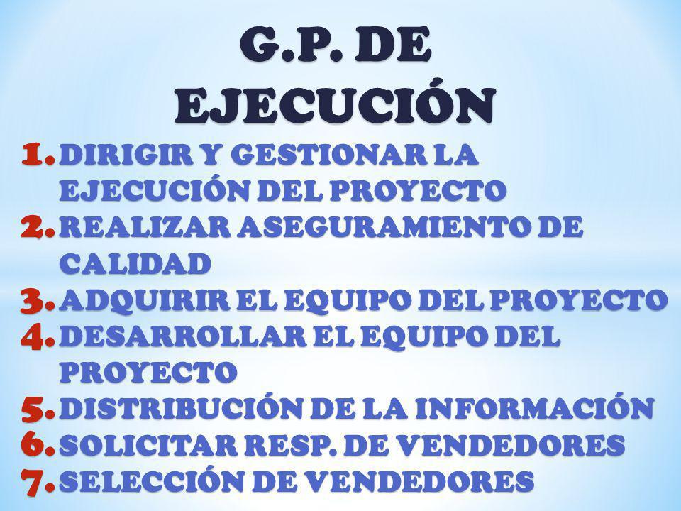 G.P. DE EJECUCIÓN 1. DIRIGIR Y GESTIONAR LA EJECUCIÓN DEL PROYECTO 2. REALIZAR ASEGURAMIENTO DE CALIDAD 3. ADQUIRIR EL EQUIPO DEL PROYECTO 4. DESARROL