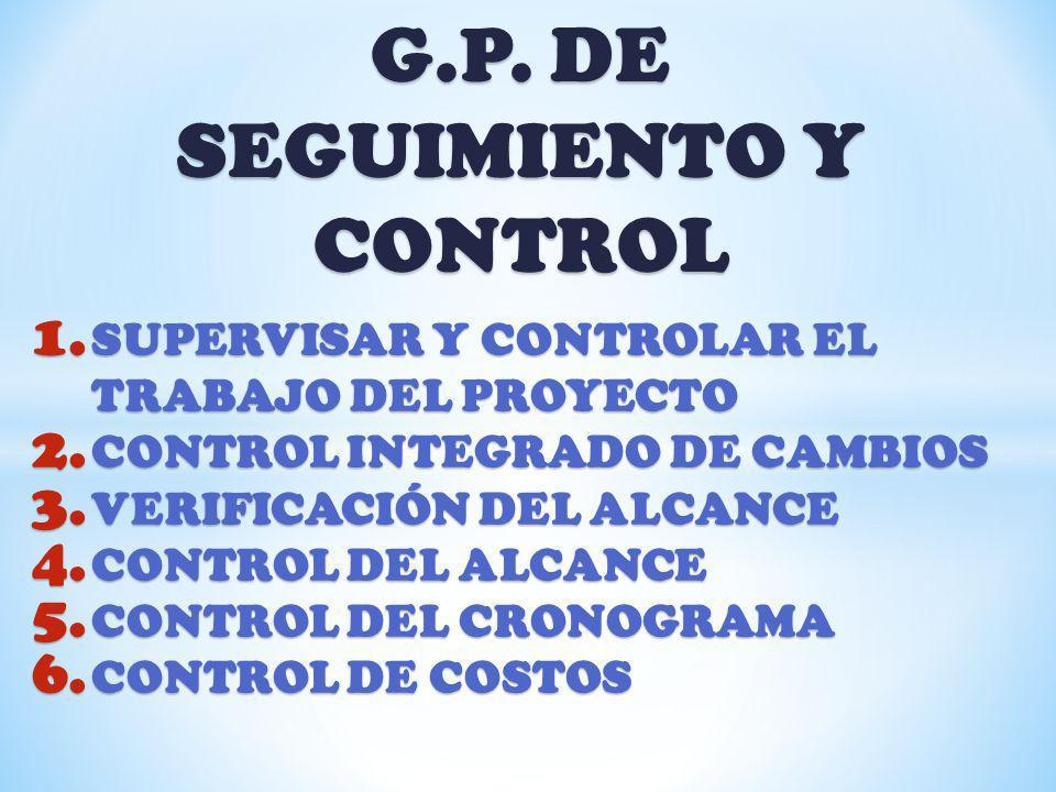 G.P. DE SEGUIMIENTO Y CONTROL 1. SUPERVISAR Y CONTROLAR EL TRABAJO DEL PROYECTO 2. CONTROL INTEGRADO DE CAMBIOS 3. VERIFICACIÓN DEL ALCANCE 4. CONTROL