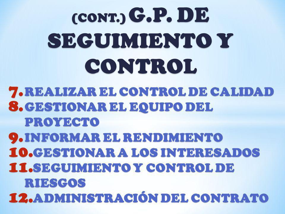 (CONT.) G.P. DE SEGUIMIENTO Y CONTROL 7. REALIZAR EL CONTROL DE CALIDAD 8. GESTIONAR EL EQUIPO DEL PROYECTO 9. INFORMAR EL RENDIMIENTO 10. GESTIONAR A