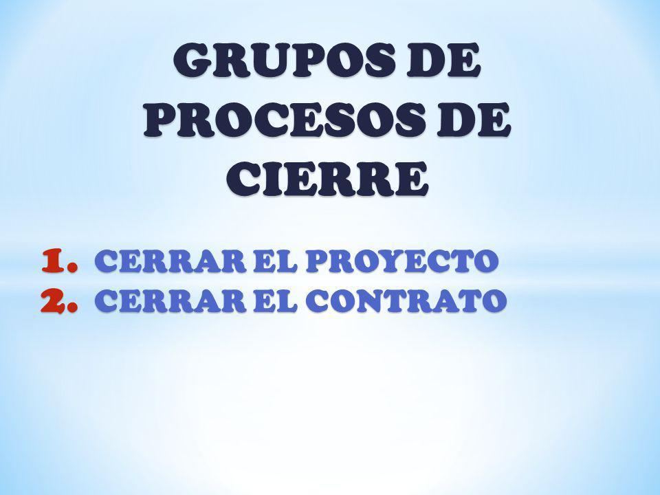GRUPOS DE PROCESOS DE CIERRE 1. CERRAR EL PROYECTO 2. CERRAR EL CONTRATO