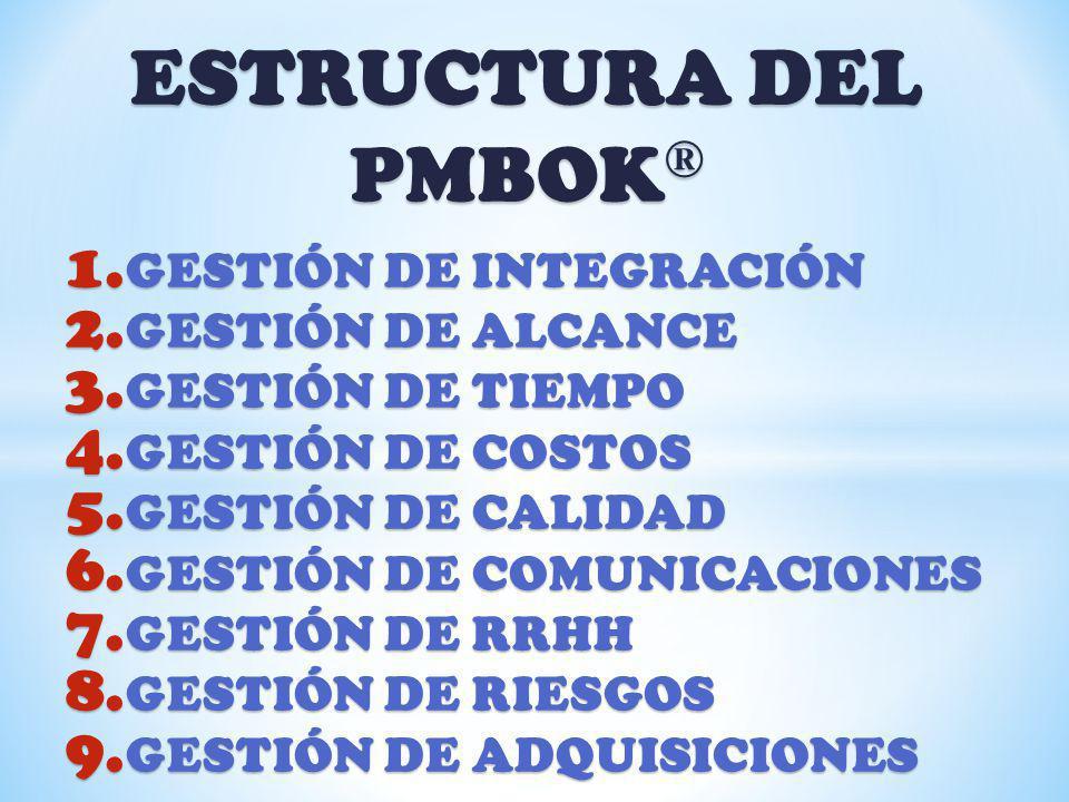 ESTRUCTURA DEL PMBOK ® 1. GESTIÓN DE INTEGRACIÓN 2. GESTIÓN DE ALCANCE 3. GESTIÓN DE TIEMPO 4. GESTIÓN DE COSTOS 5. GESTIÓN DE CALIDAD 6. GESTIÓN DE C