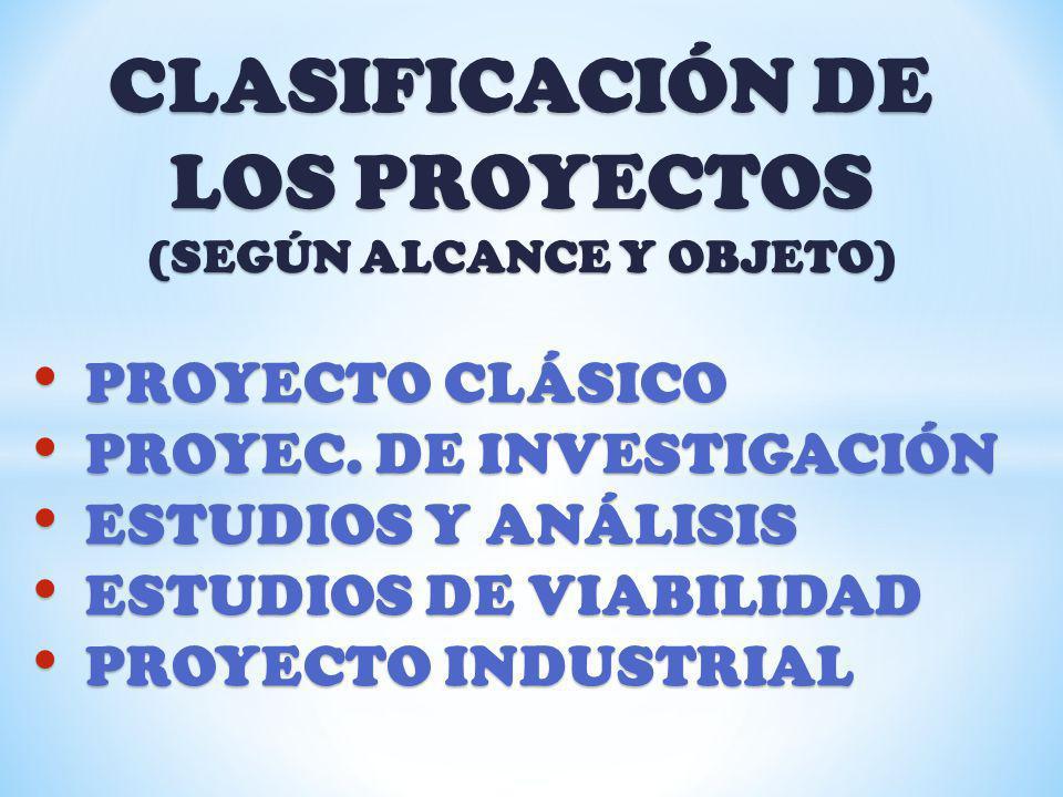 CLASIFICACIÓN DE LOS PROYECTOS (SEGÚN ALCANCE Y OBJETO) PROYECTO CLÁSICO PROYECTO CLÁSICO PROYEC. DE INVESTIGACIÓN PROYEC. DE INVESTIGACIÓN ESTUDIOS Y