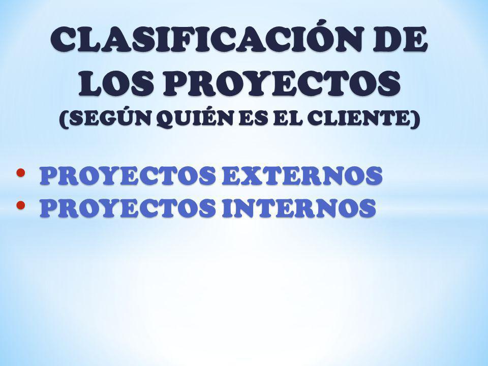 CLASIFICACIÓN DE LOS PROYECTOS (SEGÚN QUIÉN ES EL CLIENTE) PROYECTOS EXTERNOS PROYECTOS EXTERNOS PROYECTOS INTERNOS PROYECTOS INTERNOS
