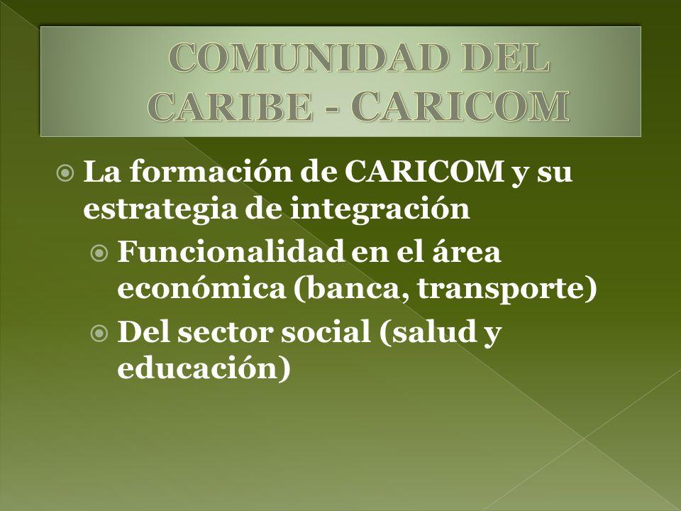 La formación de CARICOM y su estrategia de integración Funcionalidad en el área económica (banca, transporte) Del sector social (salud y educación)