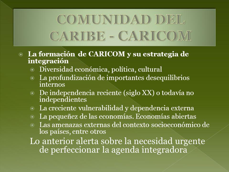 La formación de CARICOM y su estrategia de integración Diversidad económica, política, cultural La profundización de importantes desequilibrios intern