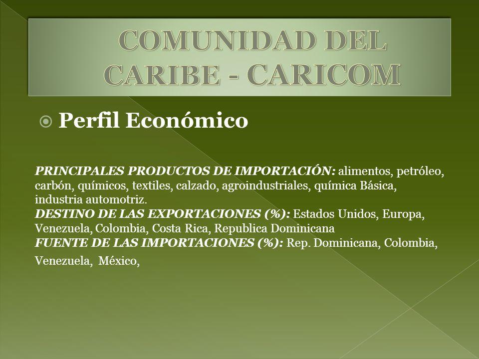 Perfil Económico PRINCIPALES PRODUCTOS DE IMPORTACIÓN: alimentos, petróleo, carbón, químicos, textiles, calzado, agroindustriales, química Básica, ind