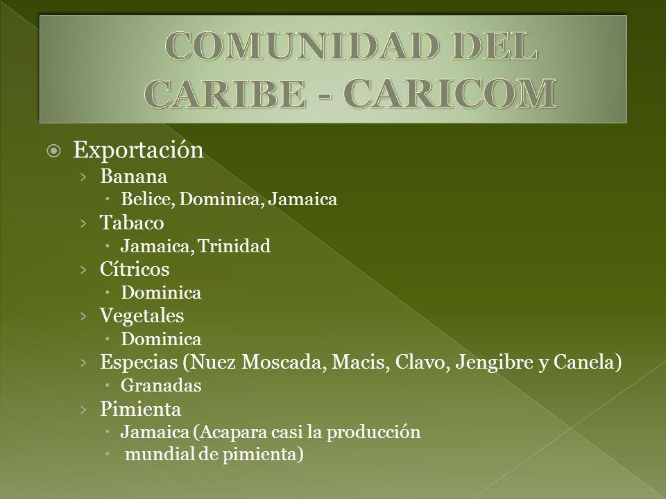 Exportación Banana Belice, Dominica, Jamaica Tabaco Jamaica, Trinidad Cítricos Dominica Vegetales Dominica Especias (Nuez Moscada, Macis, Clavo, Jengi