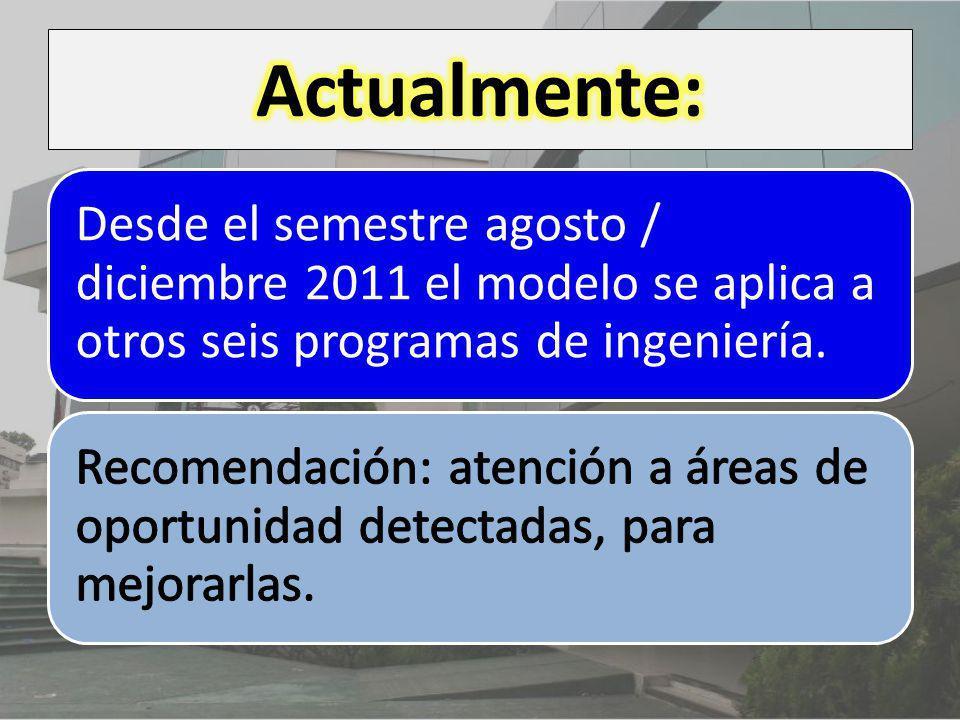 Desde el semestre agosto / diciembre 2011 el modelo se aplica a otros seis programas de ingeniería.
