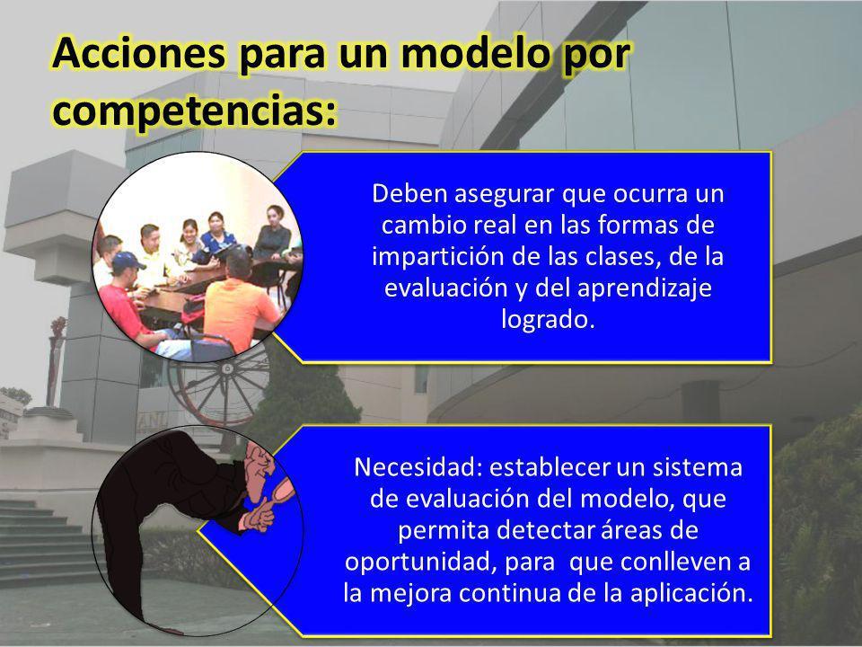 Deben asegurar que ocurra un cambio real en las formas de impartición de las clases, de la evaluación y del aprendizaje logrado. Necesidad: establecer