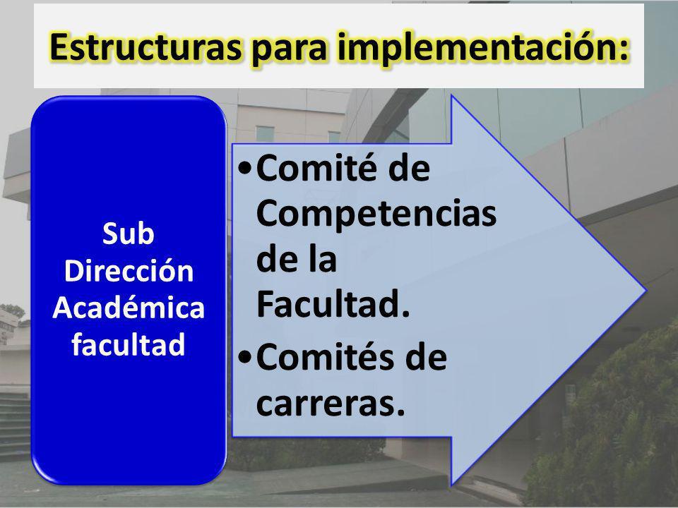 Comité de Competencias de la Facultad. Comités de carreras. Sub Dirección Académica facultad
