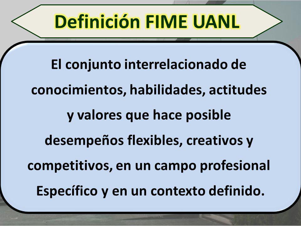 Mayo / Junio 2010FIME UANL El conjunto interrelacionado de conocimientos, habilidades, actitudes y valores que hace posible desempeños flexibles, crea
