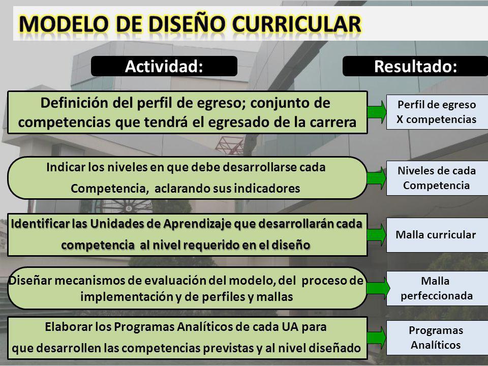 Definición del perfil de egreso; conjunto de competencias que tendrá el egresado de la carrera Indicar los niveles en que debe desarrollarse cada Comp