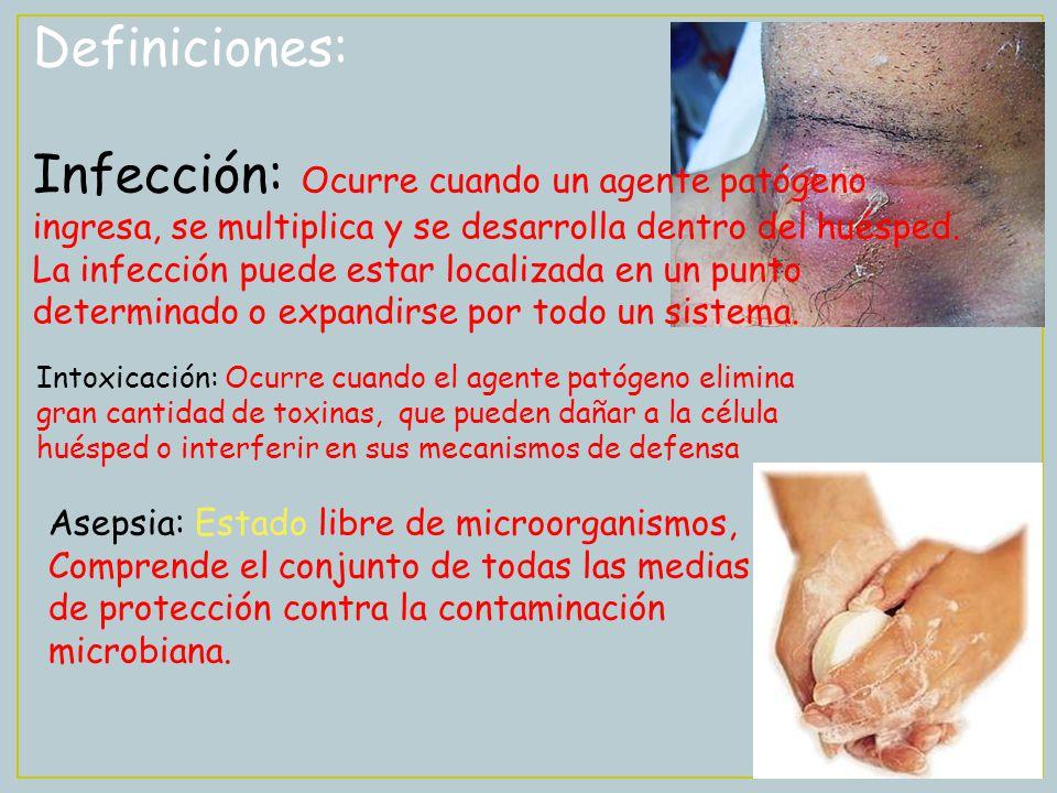 Definiciones: Infección: Ocurre cuando un agente patógeno ingresa, se multiplica y se desarrolla dentro del huésped. La infección puede estar localiza