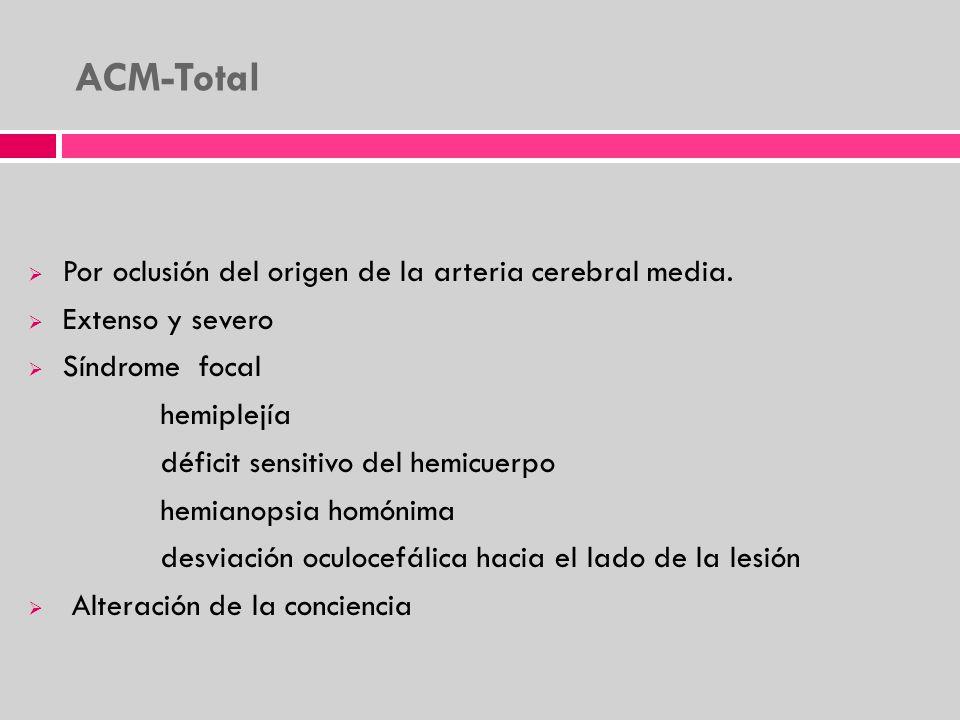 ACM-Total Por oclusión del origen de la arteria cerebral media. Extenso y severo Síndrome focal hemiplejía déficit sensitivo del hemicuerpo hemianopsi