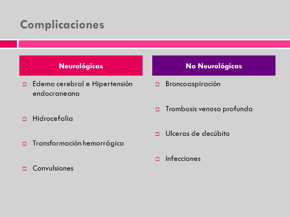Complicaciones Neurológicas Edema cerebral e Hipertensión endocraneana Hidrocefalia Transformación hemorrágica Convulsiones No Neurológicas Broncoaspi