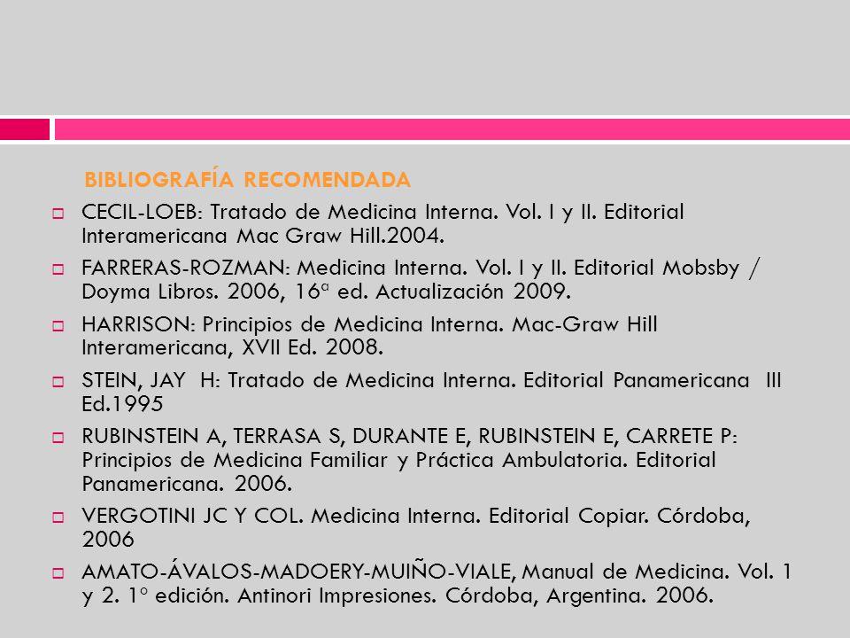 BIBLIOGRAFÍA RECOMENDADA CECIL-LOEB: Tratado de Medicina Interna. Vol. I y II. Editorial Interamericana Mac Graw Hill.2004. FARRERAS-ROZMAN: Medicina