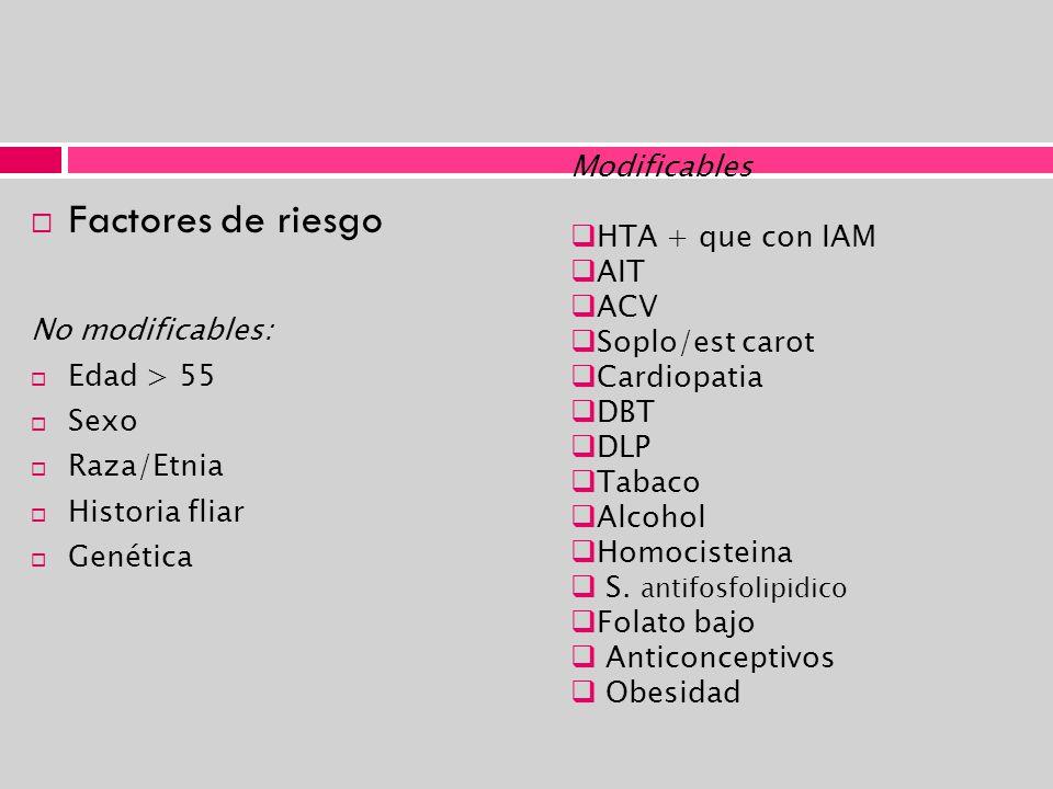 Factores de riesgo No modificables: Edad > 55 Sexo Raza/Etnia Historia fliar Genética Modificables HTA + que con IAM AIT ACV Soplo/est carot Cardiopat