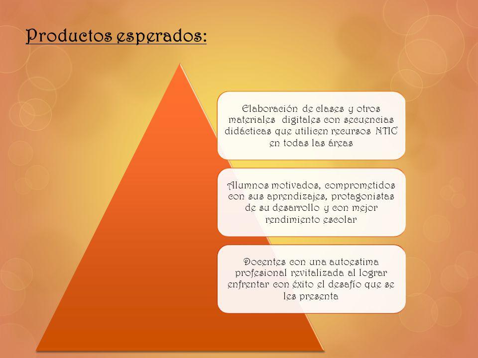Productos esperados: Elaboración de clases y otros materiales digitales con secuencias didácticas que utilicen recursos NTIC en todas las áreas Alumno