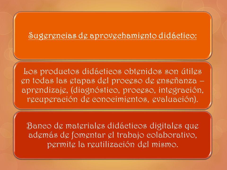 Sugerencias de aprovechamiento didáctico: Los productos didácticos obtenidos son útiles en todas las etapas del proceso de enseñanza – aprendizaje, (d