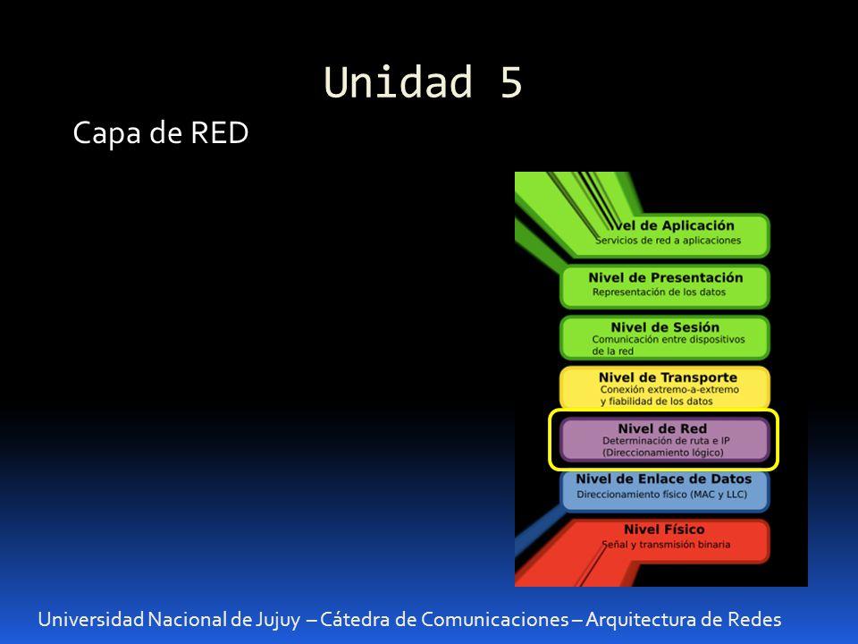 Unidad 5 Universidad Nacional de Jujuy – Cátedra de Comunicaciones – Arquitectura de Redes Capa de RED