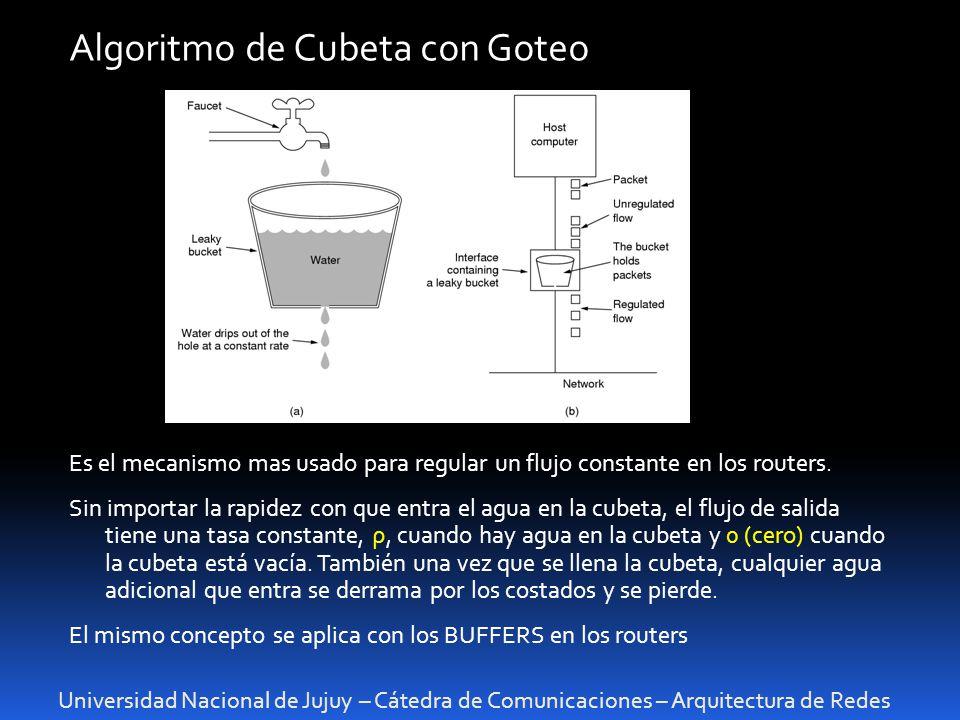 Universidad Nacional de Jujuy – Cátedra de Comunicaciones – Arquitectura de Redes Algoritmo de Cubeta con Goteo Es el mecanismo mas usado para regular un flujo constante en los routers.
