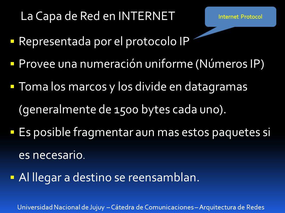 Universidad Nacional de Jujuy – Cátedra de Comunicaciones – Arquitectura de Redes La Capa de Red en INTERNET Representada por el protocolo IP Provee una numeración uniforme (Números IP) Toma los marcos y los divide en datagramas (generalmente de 1500 bytes cada uno).