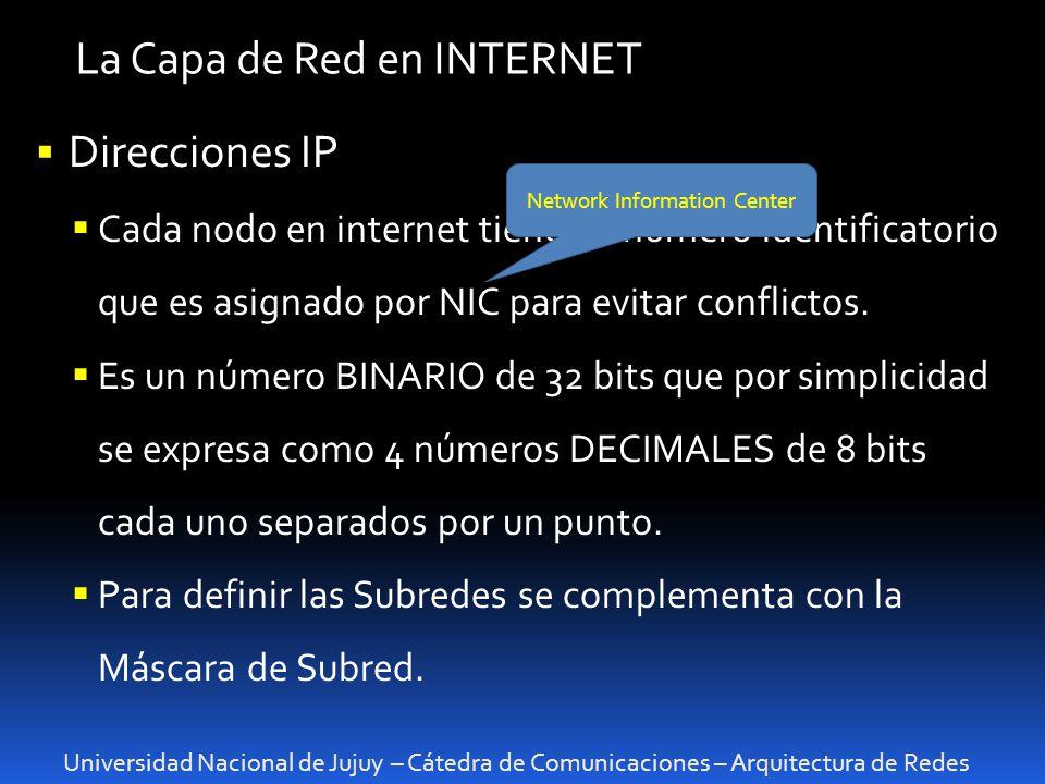 Universidad Nacional de Jujuy – Cátedra de Comunicaciones – Arquitectura de Redes La Capa de Red en INTERNET Direcciones IP Cada nodo en internet tiene un número identificatorio que es asignado por NIC para evitar conflictos.