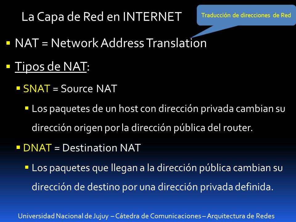Universidad Nacional de Jujuy – Cátedra de Comunicaciones – Arquitectura de Redes La Capa de Red en INTERNET NAT = Network Address Translation Tipos de NAT: SNAT = Source NAT Los paquetes de un host con dirección privada cambian su dirección origen por la dirección pública del router.