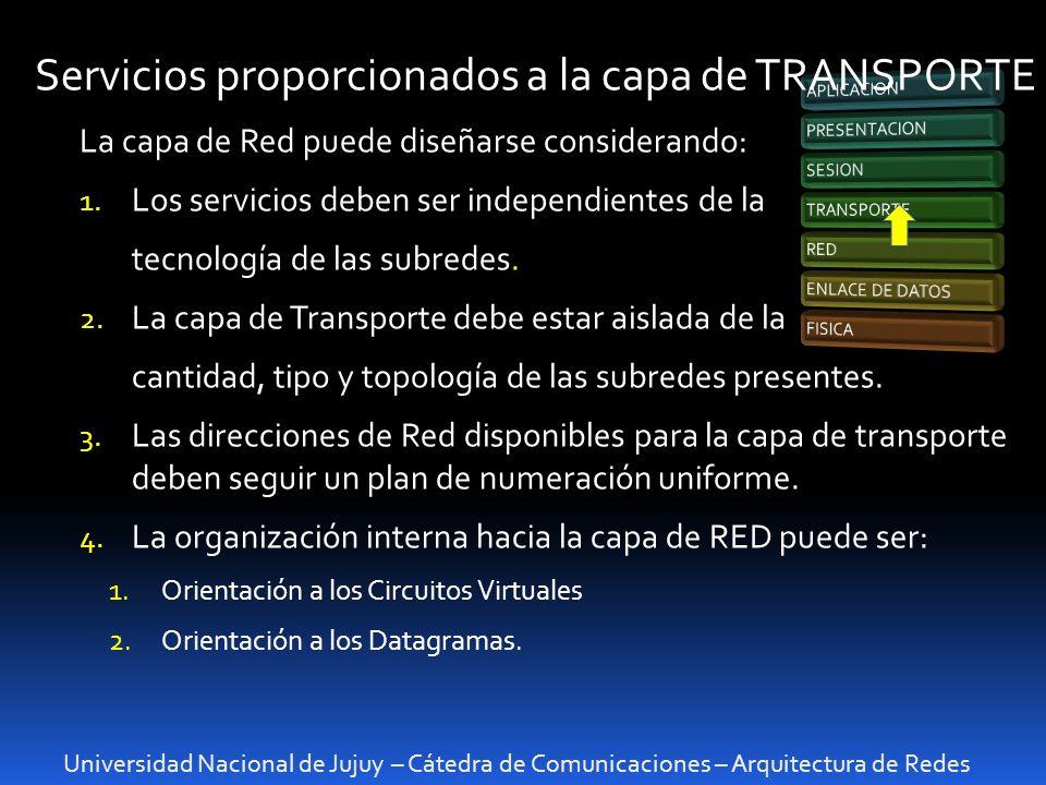 Universidad Nacional de Jujuy – Cátedra de Comunicaciones – Arquitectura de Redes Servicios proporcionados a la capa de TRANSPORTE La capa de Red puede diseñarse considerando: 1.