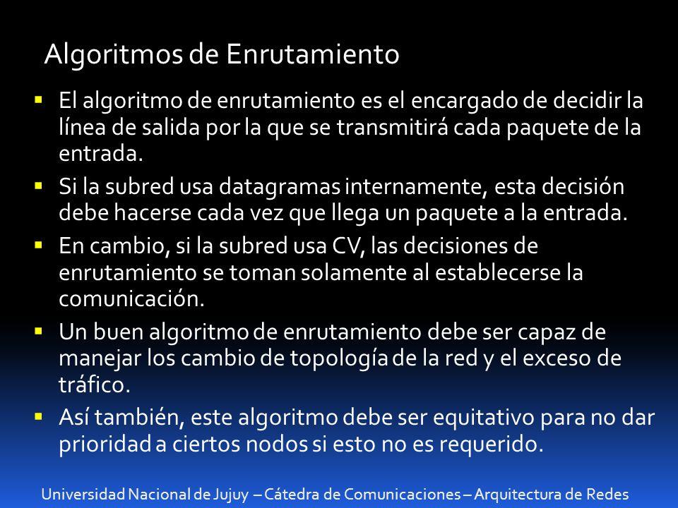 Universidad Nacional de Jujuy – Cátedra de Comunicaciones – Arquitectura de Redes Algoritmos de Enrutamiento El algoritmo de enrutamiento es el encargado de decidir la línea de salida por la que se transmitirá cada paquete de la entrada.