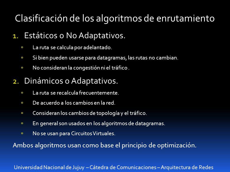 Universidad Nacional de Jujuy – Cátedra de Comunicaciones – Arquitectura de Redes Clasificación de los algoritmos de enrutamiento 1.