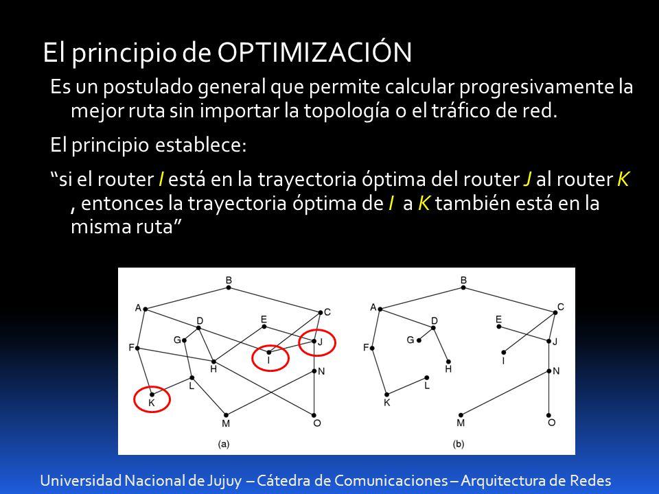 Universidad Nacional de Jujuy – Cátedra de Comunicaciones – Arquitectura de Redes El principio de OPTIMIZACIÓN Es un postulado general que permite calcular progresivamente la mejor ruta sin importar la topología o el tráfico de red.