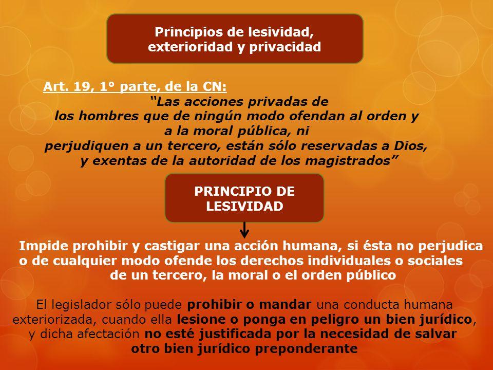 Principio de reserva penal Art. 19, 2° párrafo de la CN: Ningún habitante de la Nación será obligado a hacer lo que la ley no manda, ni privado de lo