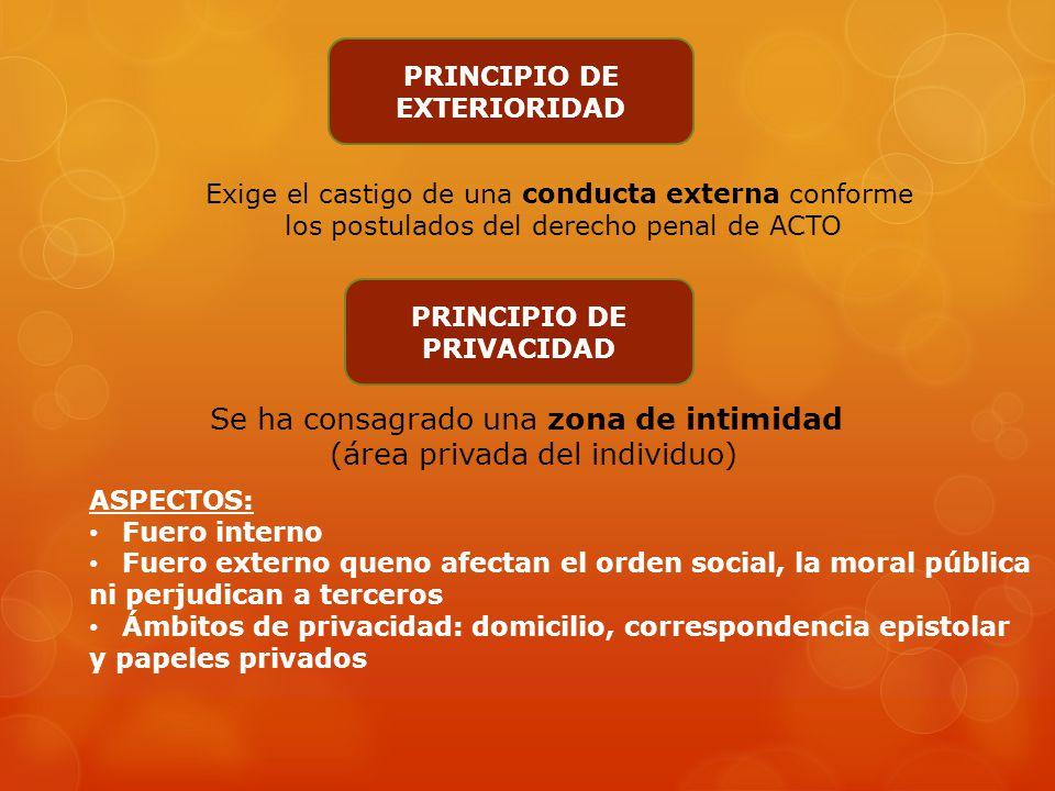 Principios de lesividad, exterioridad y privacidad Art. 19, 1° parte, de la CN: Las acciones privadas de los hombres que de ningún modo ofendan al ord