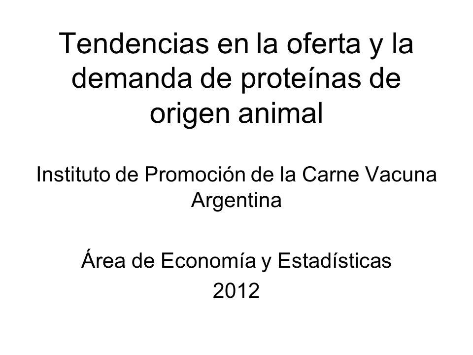 Tendencias en la oferta y la demanda de proteínas de origen animal Instituto de Promoción de la Carne Vacuna Argentina Área de Economía y Estadísticas