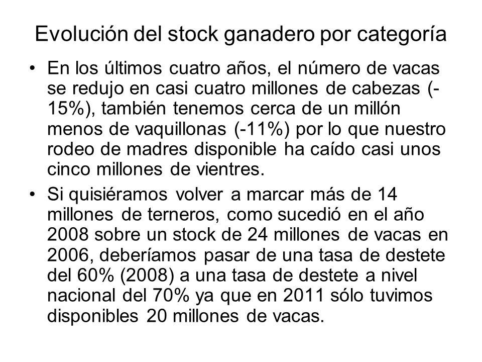 Evolución del stock ganadero por categoría En los últimos cuatro años, el número de vacas se redujo en casi cuatro millones de cabezas (- 15%), tambié