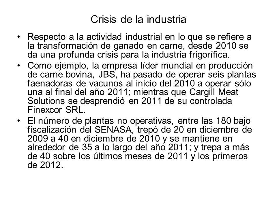 Crisis de la industria Respecto a la actividad industrial en lo que se refiere a la transformación de ganado en carne, desde 2010 se da una profunda c