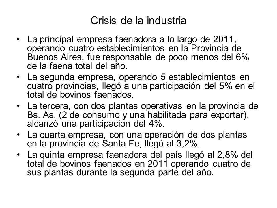 Crisis de la industria La principal empresa faenadora a lo largo de 2011, operando cuatro establecimientos en la Provincia de Buenos Aires, fue respon
