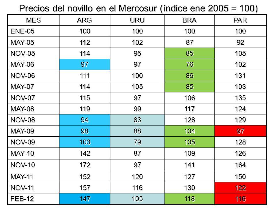 Precios del novillo en el Mercosur (índice ene 2005 = 100) MESARGURUBRAPAR ENE-05100100100100 MAY-051121028792 NOV-051149585105 MAY-06979776102 NOV-06