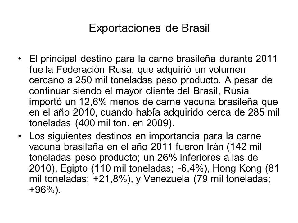 El principal destino para la carne brasileña durante 2011 fue la Federación Rusa, que adquirió un volumen cercano a 250 mil toneladas peso producto. A