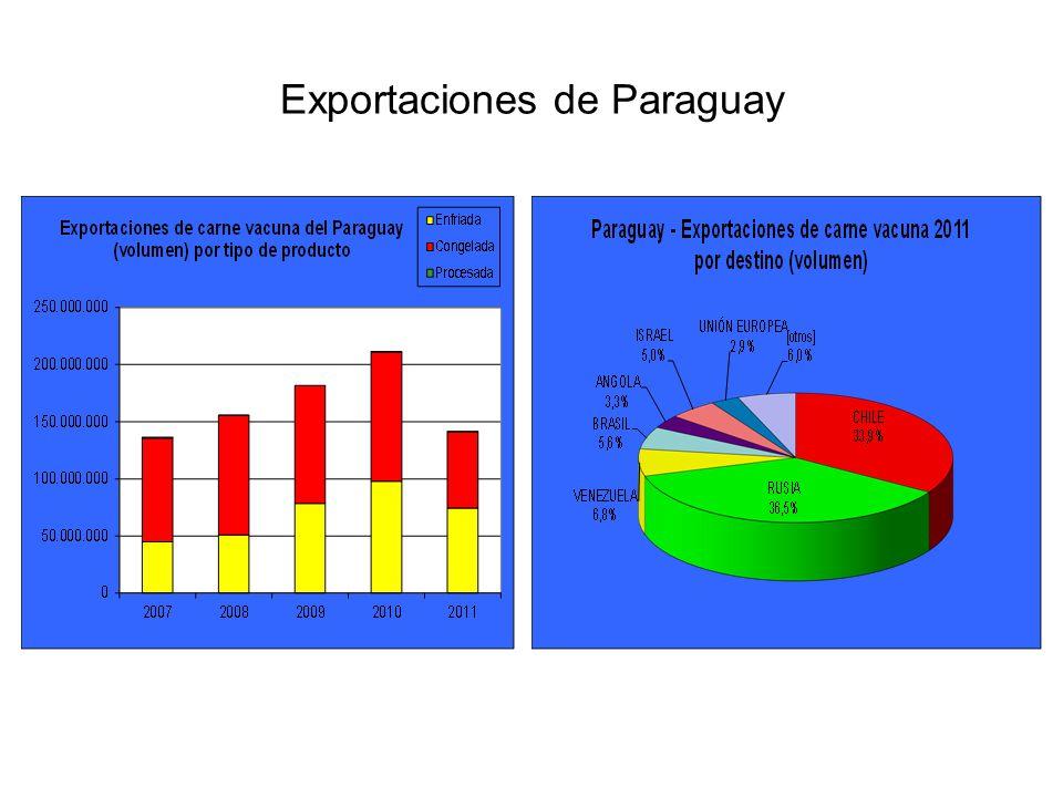 El principal destino para la carne paraguaya durante 2011 fue la Rusia, que adquirió un volumen cercano a 54 mil toneladas peso producto.