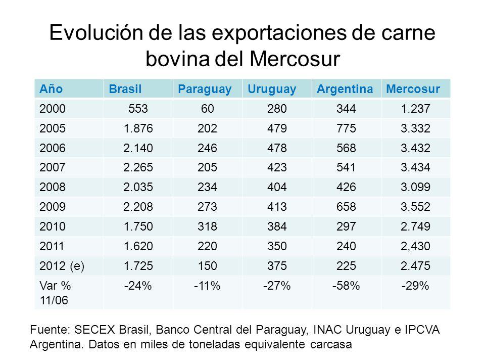 Evolución de las exportaciones de carne bovina del Mercosur AñoBrasilParaguayUruguayArgentinaMercosur 2000553602803441.237 20051.8762024797753.332 200