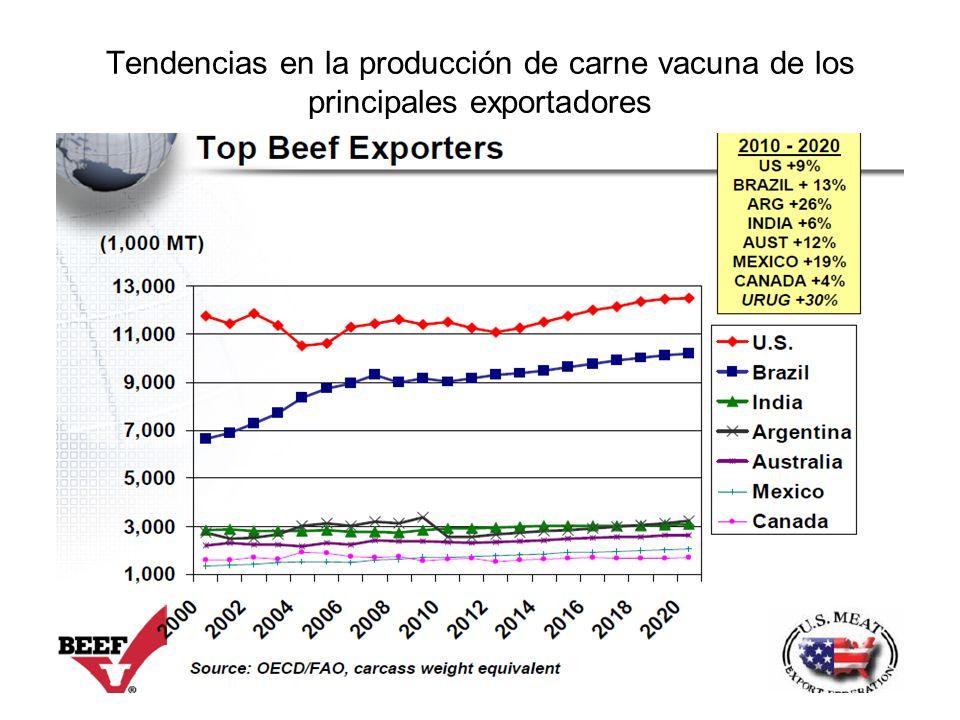 Tendencias en la producción de carne vacuna de los principales exportadores