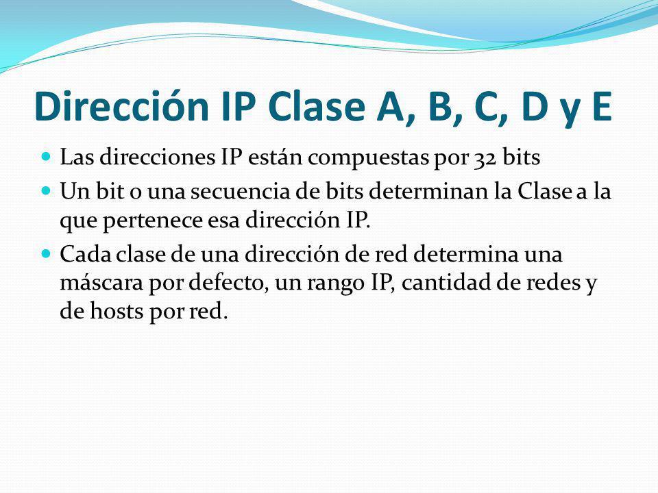 Dirección IP Clase A, B, C, D y E Las direcciones IP están compuestas por 32 bits Un bit o una secuencia de bits determinan la Clase a la que pertenec