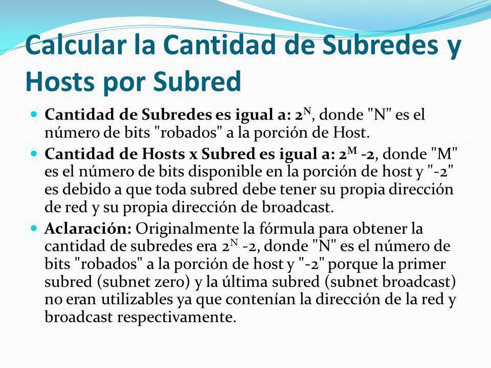 Calcular la Cantidad de Subredes y Hosts por Subred Cantidad de Subredes es igual a: 2 N, donde