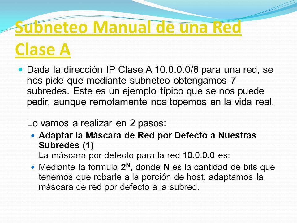 Subneteo Manual de una Red Clase A Dada la dirección IP Clase A 10.0.0.0/8 para una red, se nos pide que mediante subneteo obtengamos 7 subredes. Este