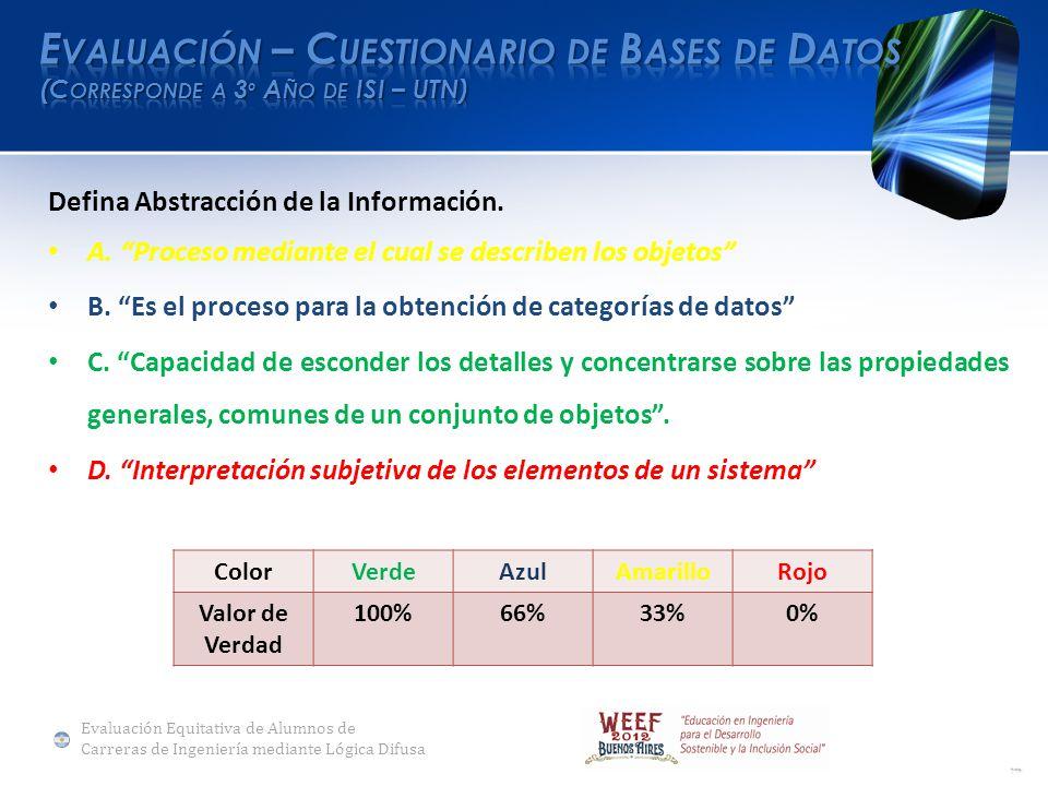 Defina Abstracción de la Información. A. Proceso mediante el cual se describen los objetos B.