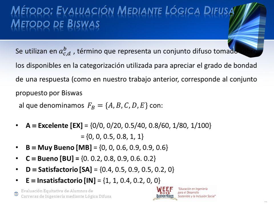 Evaluación Equitativa de Alumnos de Carreras de Ingeniería mediante Lógica Difusa